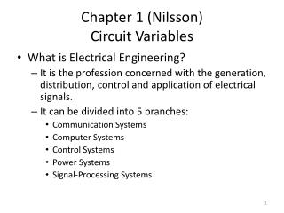 Chapter 1 (Nilsson) Circuit Variables