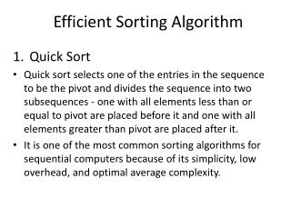 Efficient Sorting Algorithm