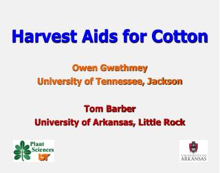 Harvest Aids for Cotton