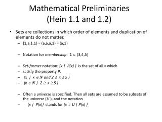 Mathematical  Preliminaries (Hein 1.1 and 1.2)