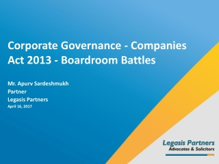 Corporate Governance: Role of Independent Directors