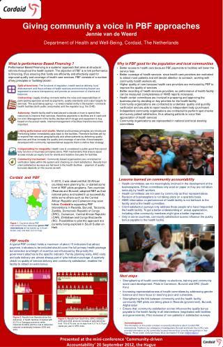 Giving community a voice in PBF approaches Jennie van de Weerd