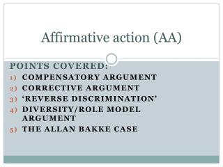 Affirmative action (AA)