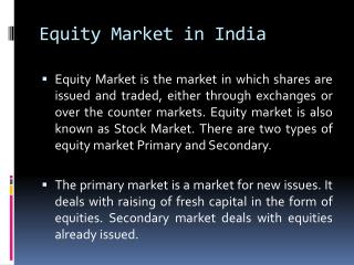 Equity Market in  India