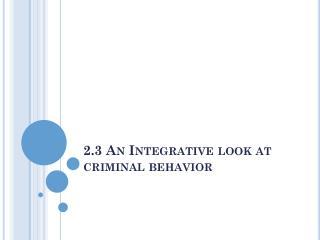 2.3 An Integrative look at criminal behavior