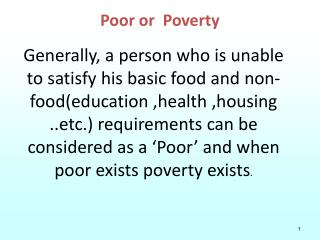 Poor or  Poverty