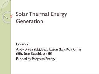 Solar Thermal Energy Generation