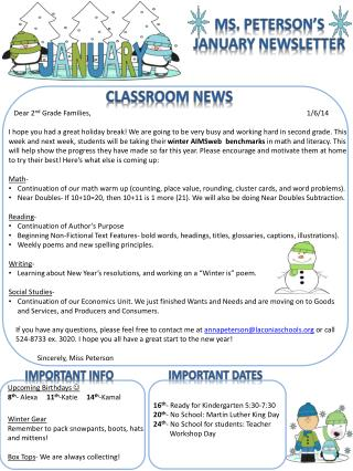 Ms. Peterson�s January Newsletter