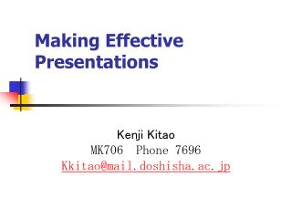 1. Learning to Do Presentations