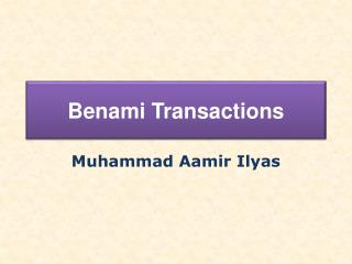 Benami  Transactions