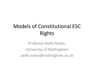 Models of Constitutional ESC Rights