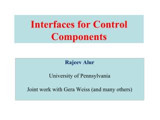 Interfaces for Control Components