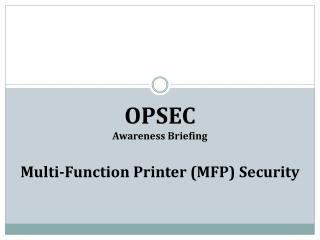 OPSEC Awareness Briefing