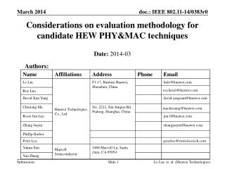 Considerations on evaluation methodology for candidate HEW PHY&MAC techniques