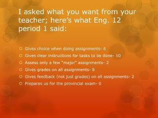 I asked what you want from your teacher; here's what  Eng. 12 period 1 said :