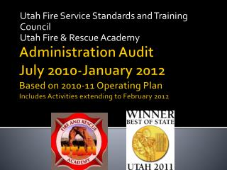 Utah Fire Service Standards and Training Council Utah Fire & Rescue Academy