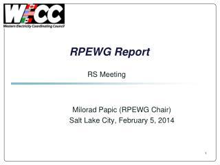 RPEWG Report