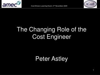 The Changing Role of the Cost Engineer   Peter Astley