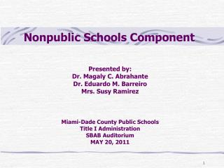 Nonpublic Schools Component