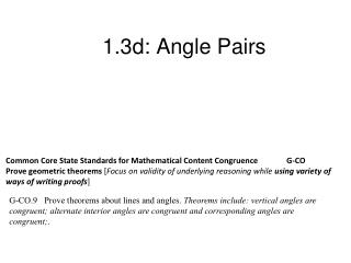 1.3d: Angle Pairs