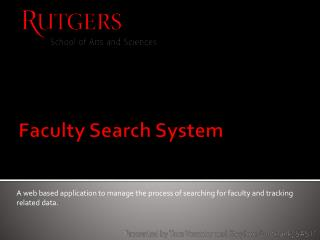 Faculty Search System