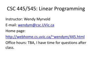 CSC 445/545: Linear Programming