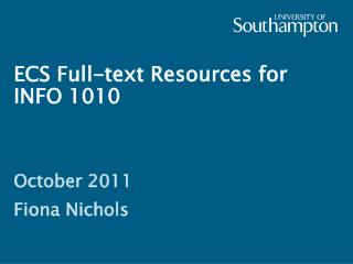 ECS Full-text Resources for INFO 1010