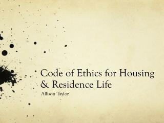 Code of Ethics for Housing & Residence Life