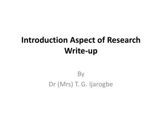 Introduction  Aspect  of  Research Write-up