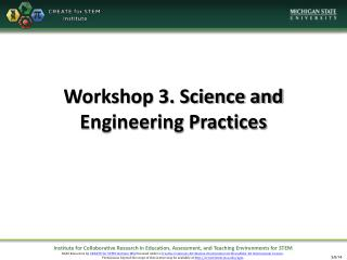 Workshop 3. Science and Engineering Practices