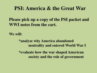 PSI: America & the Great War