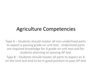 Agriculture Competencies