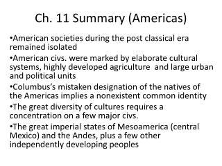 Ch.  11 Summary (Americas)