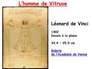 Léonard de Vinci 1492 Dessin à la plume 34,4 × 25,5 cm