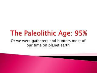 The Paleolithic Age: 95%