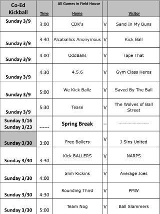 All Games in Field House