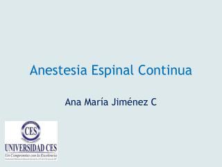 Anestesia Espinal  C ontinua