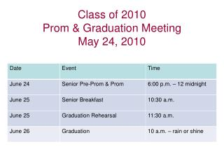 Class of 2010 Prom & Graduation Meeting May 24, 2010