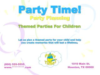 Party Time! Party Planning