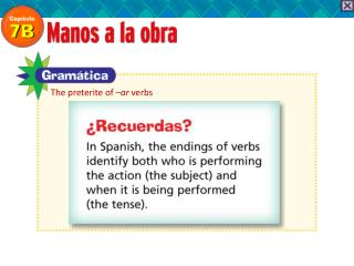 The preterite of  –ar  verbs