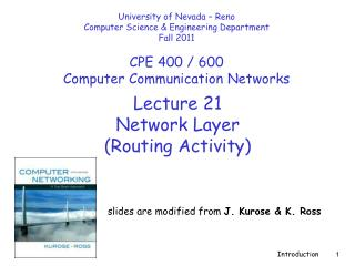Lecture  21 Network Layer  (Routing Activity)