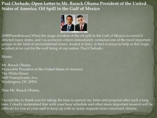 Paul Chehade. Open Letter to Mr. Barack Obama President of t