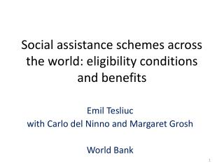 Social assistance schemes across the world: eligibility conditions and benefits