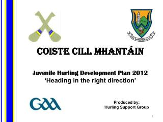 Coiste Cill Mhantáin Juvenile Hurling Development Plan 2012 'Heading in the right direction'