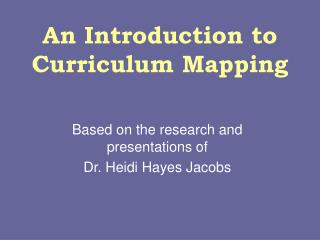 An Introduction to Curriculum Mapping