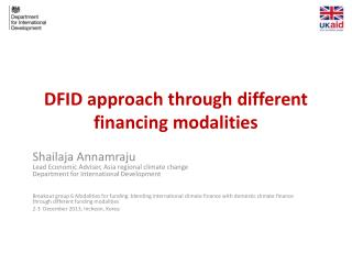 DFID  approach through different financing modalities