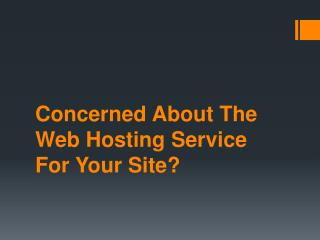 Concerned About The Web Hosting Service For Your Site?