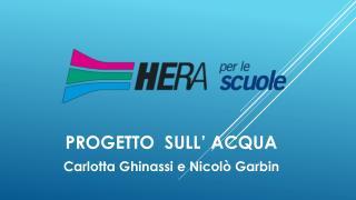 PROGETTO  SULL�  ACQUA Carlotta Ghinassi e Nicol� Garbin