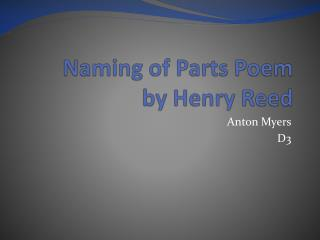 Naming of Parts Poem by Henry Reed