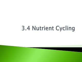 3.4 Nutrient Cycling